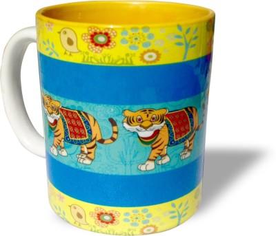 Blue Sky Designz Decorated Tiger - Yellow Blue Ceramic Mug