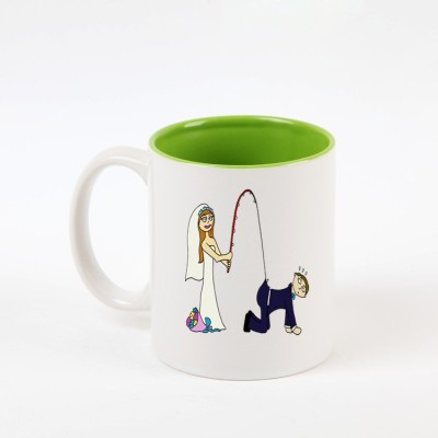 Huppme I Love My Husband Inner Green  Ceramic Mug