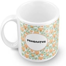 posterchacha Prasanths Floral Design Name Ceramic Mug(350 ml)
