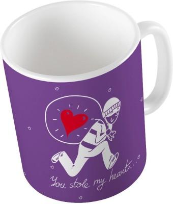 Indiangiftemporium Designer Romantic Print Purple Coffee  726 Ceramic Mug