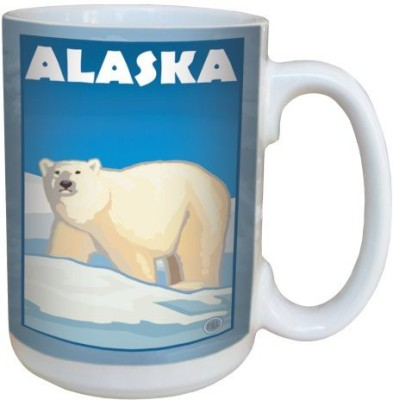Tree-Free Greetings Greetings 79334 Alaska Polar Bear by Paul A. Lanquist Ceramic  with Full-Sized Handle, 15-Ounce, Multicolored Ceramic Mug