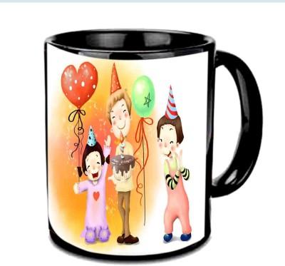 Jiya Creation1 Birthday Enjoy Partty Multicolor Ceramic Mug