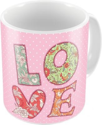 Indiangiftemporium Pink Designer Romantic Print Coffee  682 Ceramic Mug