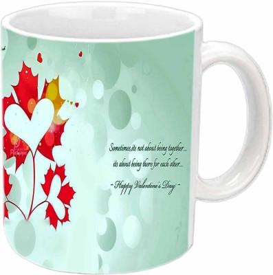 Jiya Creation Heart Leaves Valentine White  Ceramic Mug