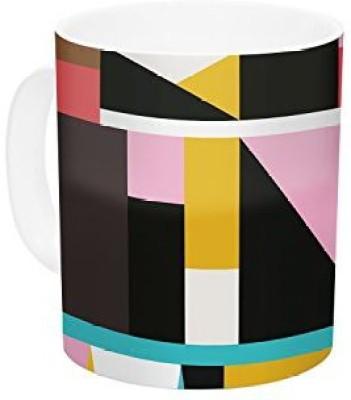Kess InHouse InHouse Fimbis Kaku To Abstract Geometric Ceramic Coffee , 11 oz, Multicolor Ceramic Mug