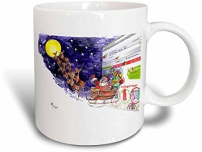 3dRose Val Cartoon About An E-Bay Christmas Ceramic , 11 oz, White Ceramic Mug