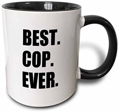 3dRose Best Cop Ever Fun Text Gifts for Worlds Greatest Police officer Two Tone Black , 11 oz, Black/White Ceramic Mug