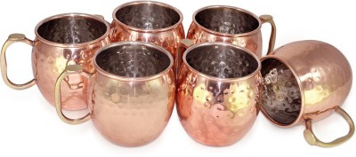 Dungri India Craft Copper  for Moscow Mules 550 ML / 18 oz, Set of 6, Copper Plating Stainless Steel Best Quality Copper Mug