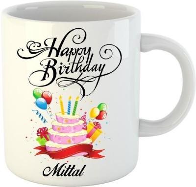 Huppme Happy Birthday Mittal White  (350 ml) Ceramic Mug