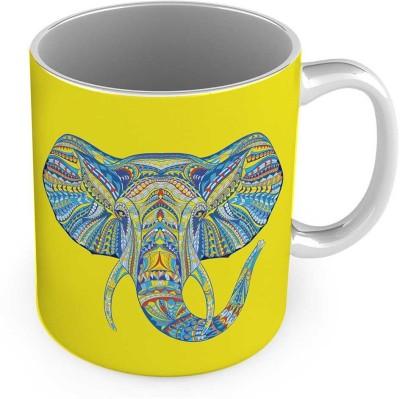 Kiran Udyog Elephant Designer Print Delightful Cute Coffee  556 Ceramic Mug