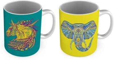 Home India Elephant n Horse Printed Delightful Cofee  Pair 781 Ceramic Mug