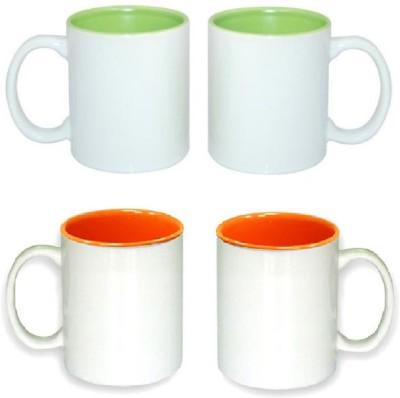 CreativesKart Coloured Inside s Parrot Green & Orange Family Pack Ceramic Mug