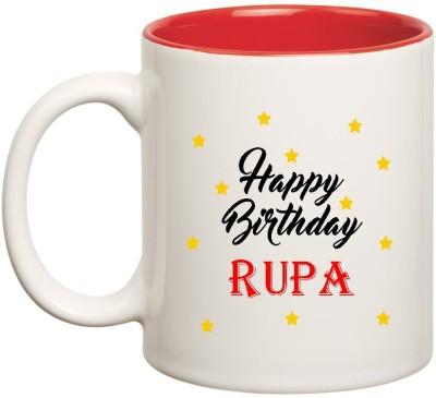 Huppme Happy Birthday Rupa Inner Red Ceramic  (350ml) Ceramic Mug