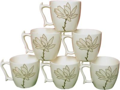 White Gold Golden Flower Ceramic Mug