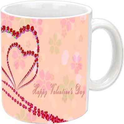 Jiya Creation Couple Hearts Valentine White  Ceramic Mug