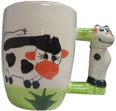 ShopeGift Cartoon Animal Handle Cow Porcelain Mug