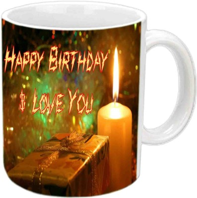 RajLaxmi Flame Fonts Happy Birthday White  Ceramic Mug