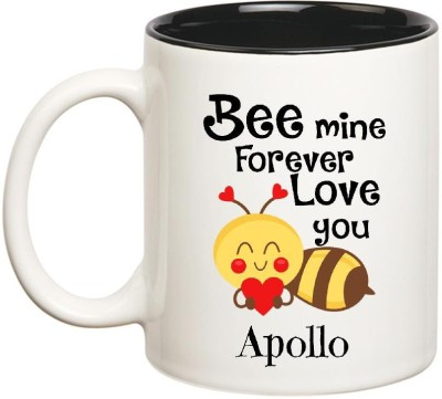 Huppme Love You Apollo Bee mine Forever Inner Black Ceramic Mug(350 ml)