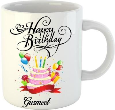 HuppmeGift Happy Birthday Gurmeet White  (350 ml) Ceramic Mug