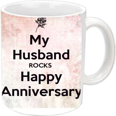 Jiya Creation1 My Husband Rocks Anniversary White Ceramic Mug