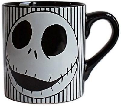 Disney Buffalo NB0232 Disney Nightmare Before Christmas Skull Stripes Ceramic , 14 oz, Black Ceramic Mug