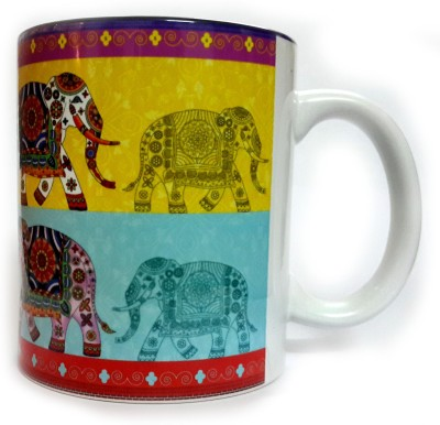Indiavibes Printed Coffee Tea  with Elephant 4 Theme Ceramic Mug