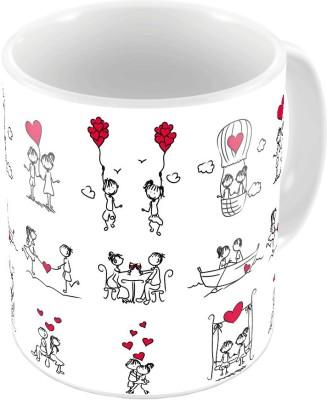 Home India White Designer Printed Coffee s Pair 653 Ceramic Mug