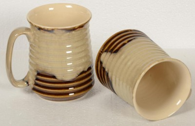 Inhomez Cream Brown Studio Stoneware Ceramic Ribbed - Set of 2 Ceramic, Pottery Mug