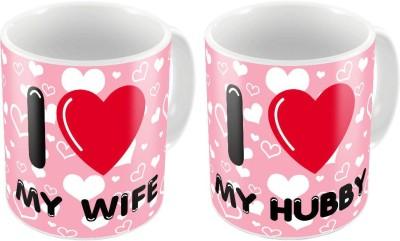 Home India Designer Romantic Print Pink Coffee s Pair 201 Ceramic Mug