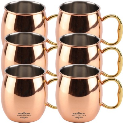 Indian Craft Villa IndianCraftVilla Handmade Copper Nickle Set Of 6 Moscow Mule Solid Round  Cup Volume 530 ML for Use Restaurant Ware Beer Bar Ware Hotel Ware Copper Mug