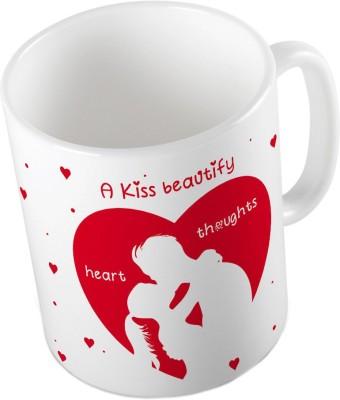Indiangiftemporium Designer Romantic Print White Coffee  641 Ceramic Mug