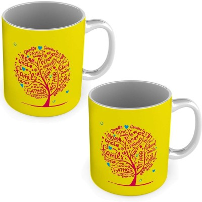 United colors Relationship Tree Printed Yellow Coffee s Pair 573 Ceramic Mug