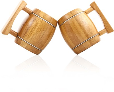 Wood Trim Barrel Beer Vintage Style Twins Wood Mug