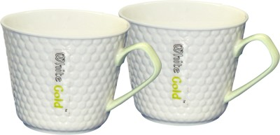 White Gold WG-927 Green Handle Porcelain Mug