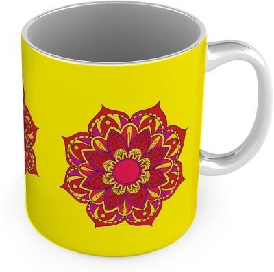 Kiran Udyog Red Flower Printed Design Fancy Yellow Coffee  565 Ceramic Mug