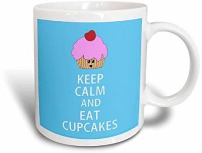 3dRose Keep Calm and Eat Cupcakes. Blue. Ceramic , 15 oz, White Ceramic Mug