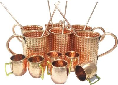 Dakshcraft Kitchen Accessory with shot cups & straw Copper Mug