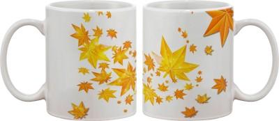 Artifa Autumn Leaves Star Porcelain, Ceramic Mug