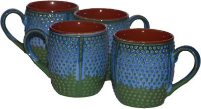Inhomez Blue Green Studio Dotted Stoneware Coffee s- Set Of 4 Ceramic Mug