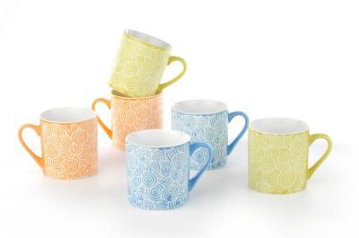 Buono Casa NBE CM 14 Porcelain Mug(250 ml, Pack of 6)