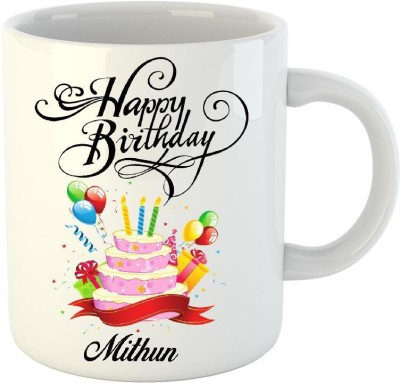 Huppme Happy Birthday Mithun White  (350 ml) Ceramic Mug