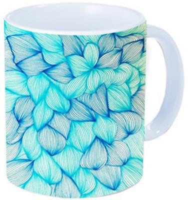 Rawkart Blue Feather print Ceramic Mug