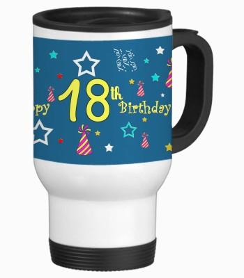 Sajawat Homes 18th Happy Birthday White Travel Stainless Steel Mug