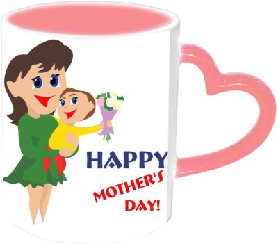 Jiya Creation1 Happy Mother,s day with cute baby & Mother Pink Heart Handle Ceramic Mug