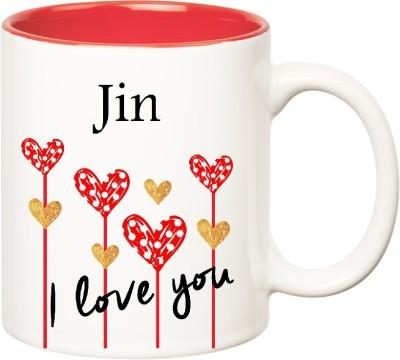 Huppme I Love You Jin Inner Red  (350 ml) Ceramic Mug