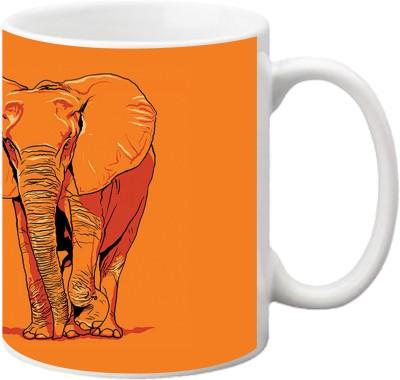 ezyPRNT Elephant Line Art Ceramic Mug