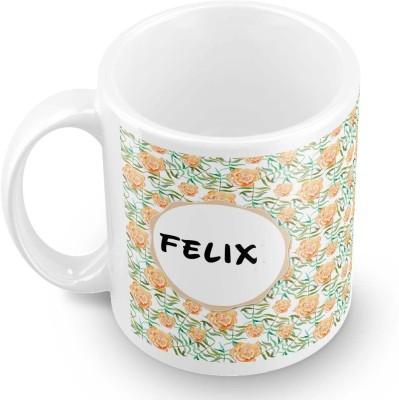 posterchacha Felix Floral Design Name  Ceramic Mug