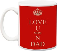 IZOR Gift for Parents/Mummy/Daddy Anniversary/Birthday;Love You Mom And Dad Print In Red BG Printed Ceramic Mug