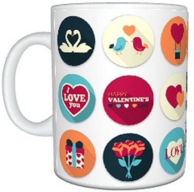 CreativesKart Valentine Badge Ceramic Mug