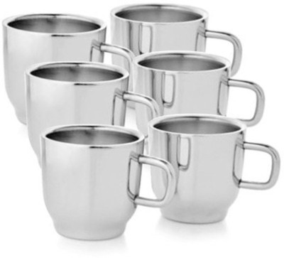 Verow Double Wall Cup Set of 6 Stainless Steel Mug